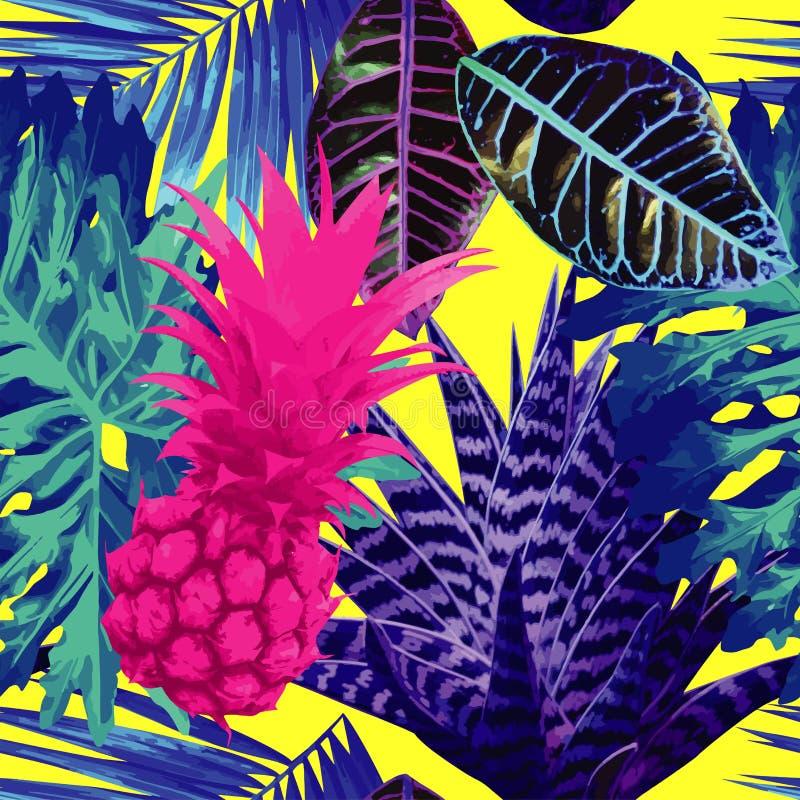 Abacaxi cor-de-rosa e fundo sem emenda das plantas exóticas azuis ilustração do vetor