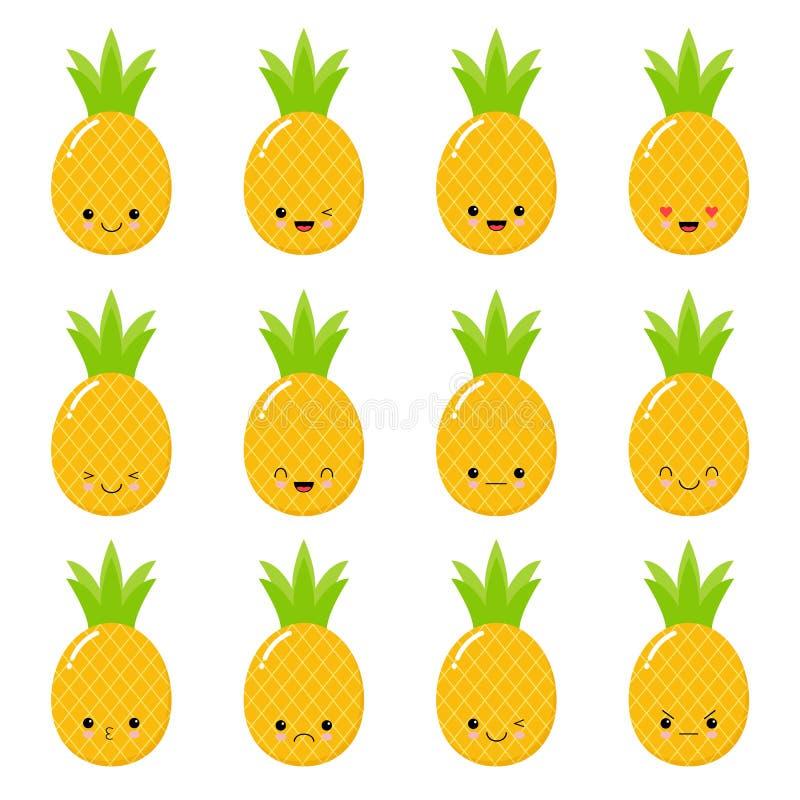 Abacaxi de Kawaii Ilustração do vetor do Emoticon Grupo do Emoticon Cara do Emoticon em um fundo branco Ícone do Emoticon ilustração do vetor