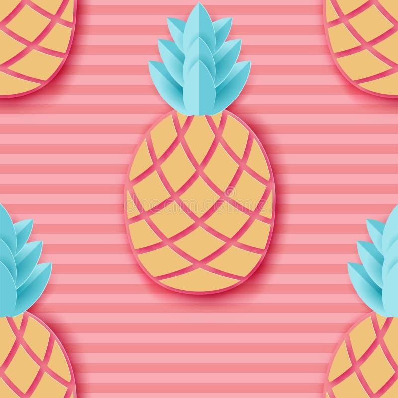 Abacaxi de papel tropical Do fruto exótico da selva do verão teste padrão sem emenda ilustração stock
