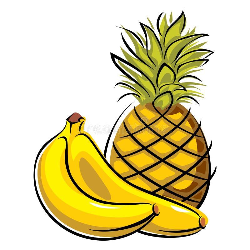 Abacaxi e bananas ilustração royalty free