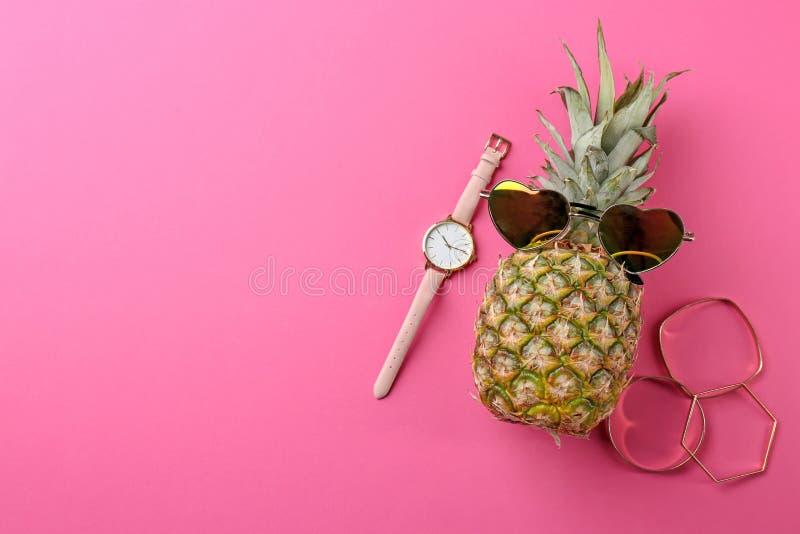 Abacaxi engraçado com óculos de sol, braceletes imagem de stock royalty free
