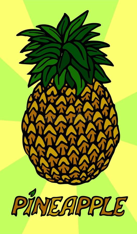Abacaxi estilizado no fundo bonito ilustração stock