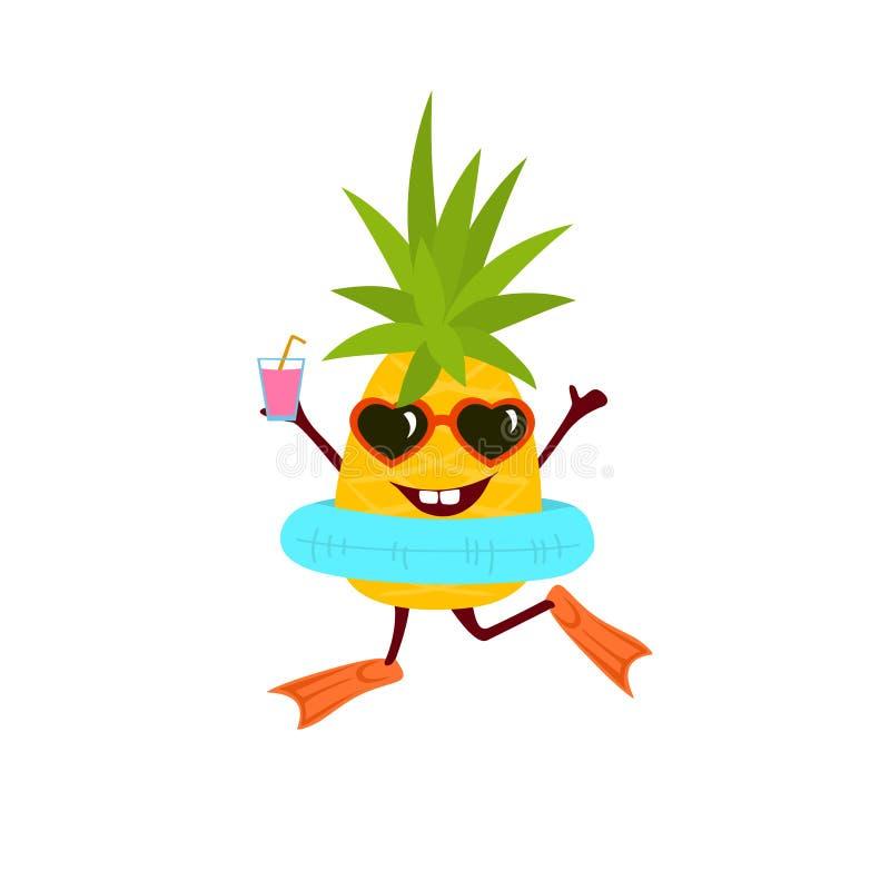 Abacaxi feliz dos desenhos animados do divertimento no vetor bonito das férias ilustração stock