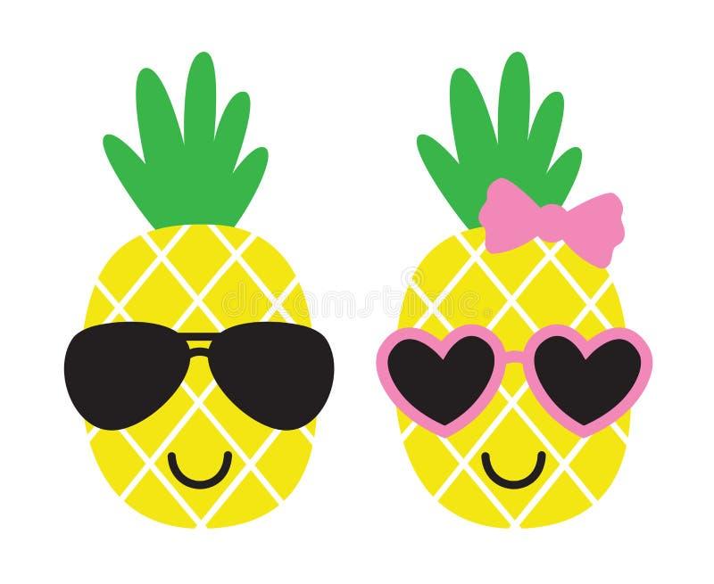 Abacaxis bonitos que vestem óculos de sol na ilustração do vetor do verão ilustração do vetor