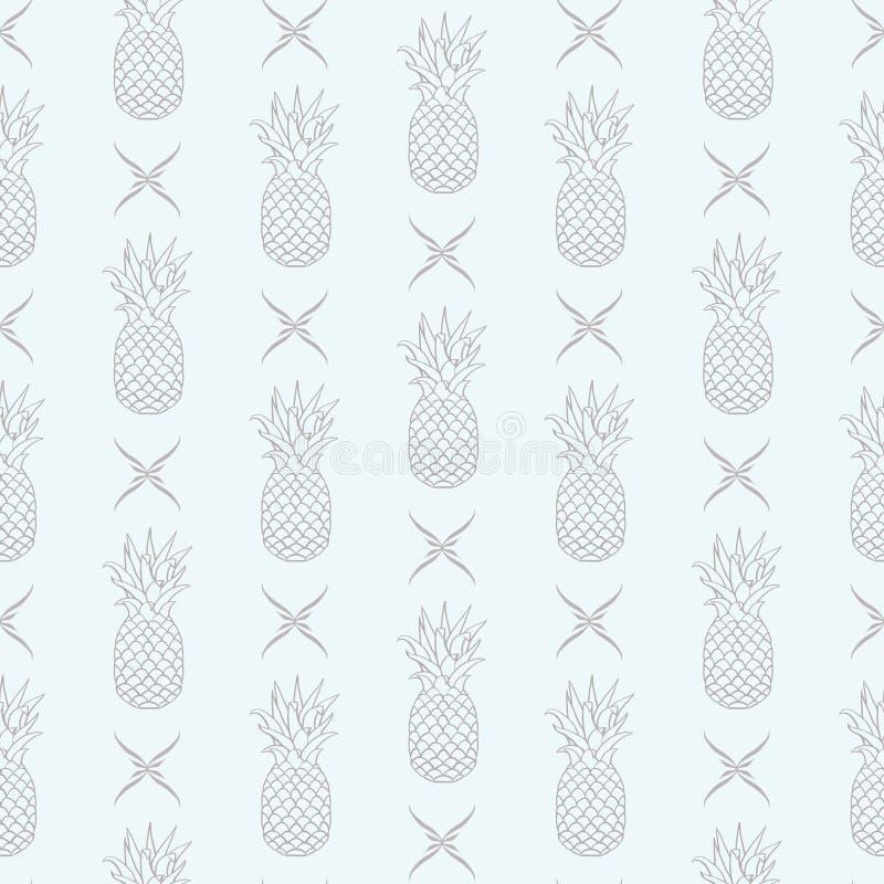 Abacaxis do vetor na linha da decoração floral no fundo sem emenda brilhante do teste padrão ilustração do vetor