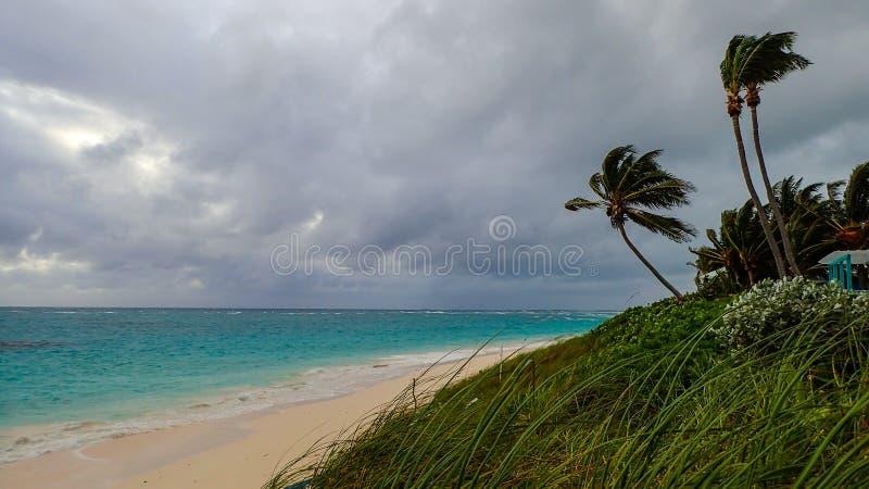 Abaco de Bahamas strandscène op een stormachtige bewolkte dag royalty-vrije stock afbeeldingen