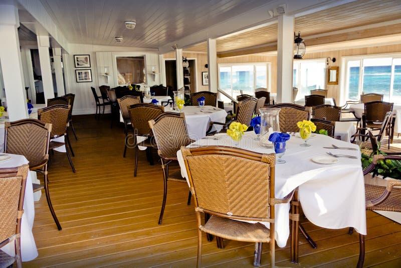 Abaco Herberg het dineren zaal, Abaco, de Bahamas stock afbeeldingen