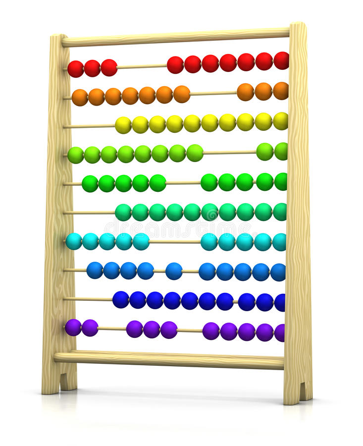 Abacus. 3d rendering/illustration of an abacus with rainbow colored beads stock illustration