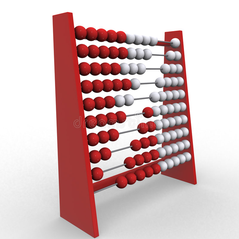 Abacus. 3d rendering illustration of an abacus. A clipping path is included for easy editing royalty free illustration