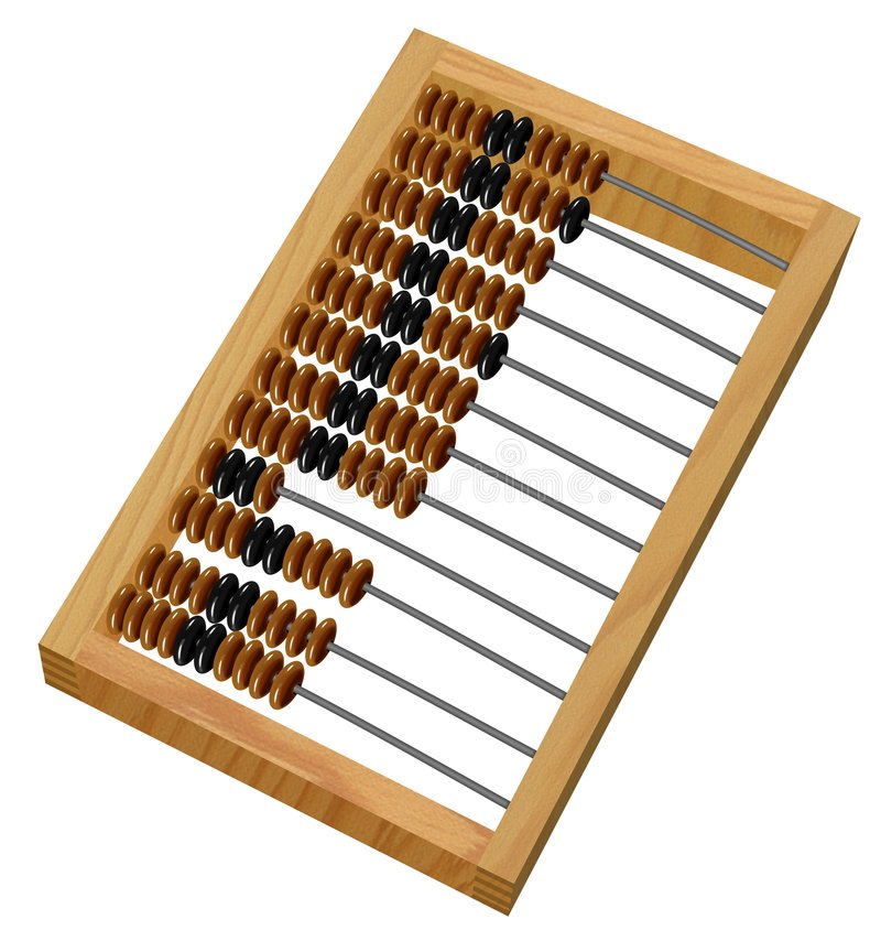 Abacus. Wooden abacus isolated on white royalty free illustration