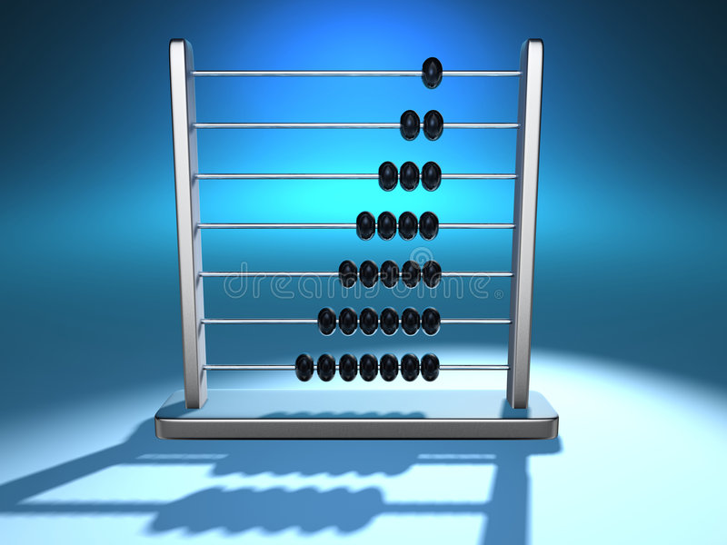 Abacus 5. Conceptual metallic abacus on blue background - 3d render stock illustration