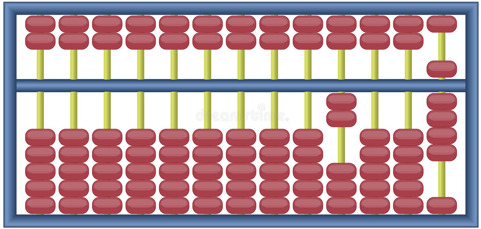 Abacus. Fully editable vector illustration of an abacus with numbers adding up to 2009 royalty free illustration