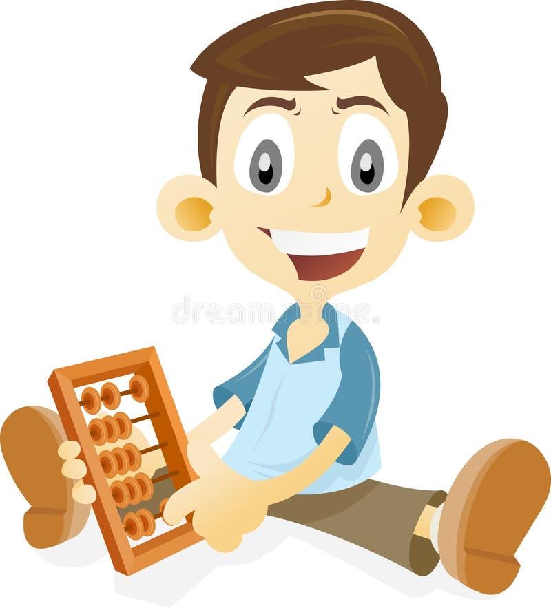 Abacus. Kid learning math using abacus stock illustration