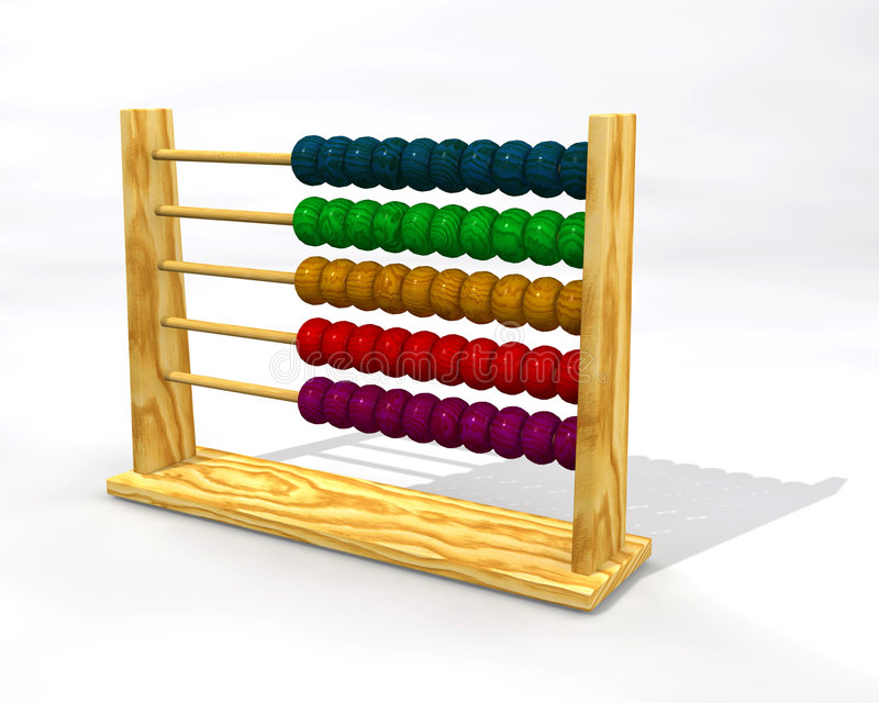 Abacus. Wooden abacus with color balls vector illustration