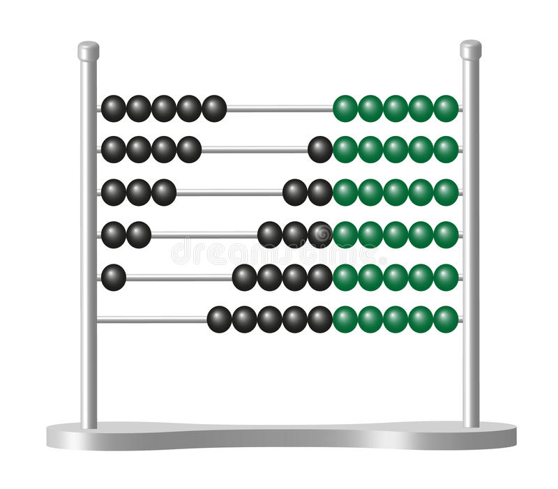 Abacus with black and green balls royalty free illustration