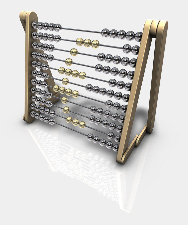 Abacus Euro. 3d rendering of an abacus with euro symbol royalty free illustration