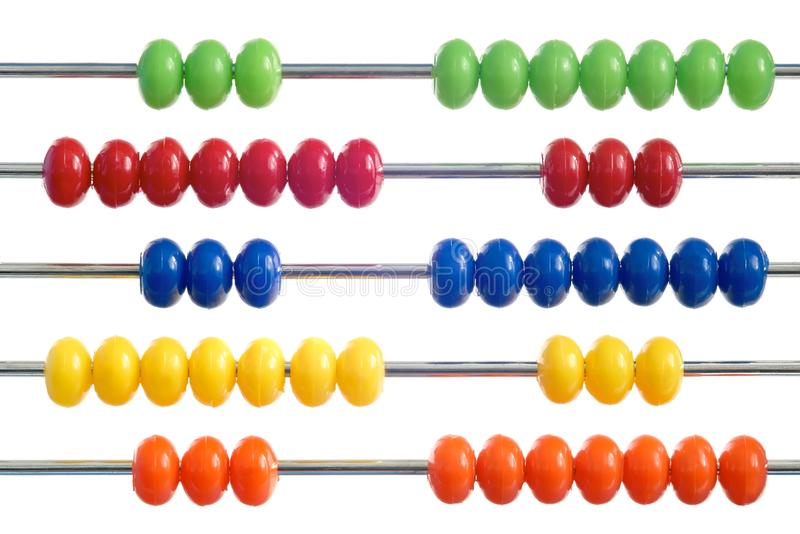 Abacus. Of many colorful beads on white background stock image
