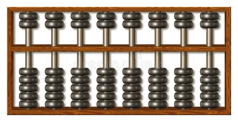 Abacus. An abacus used for displaying, counting, adding, or subtracting numbers royalty free illustration