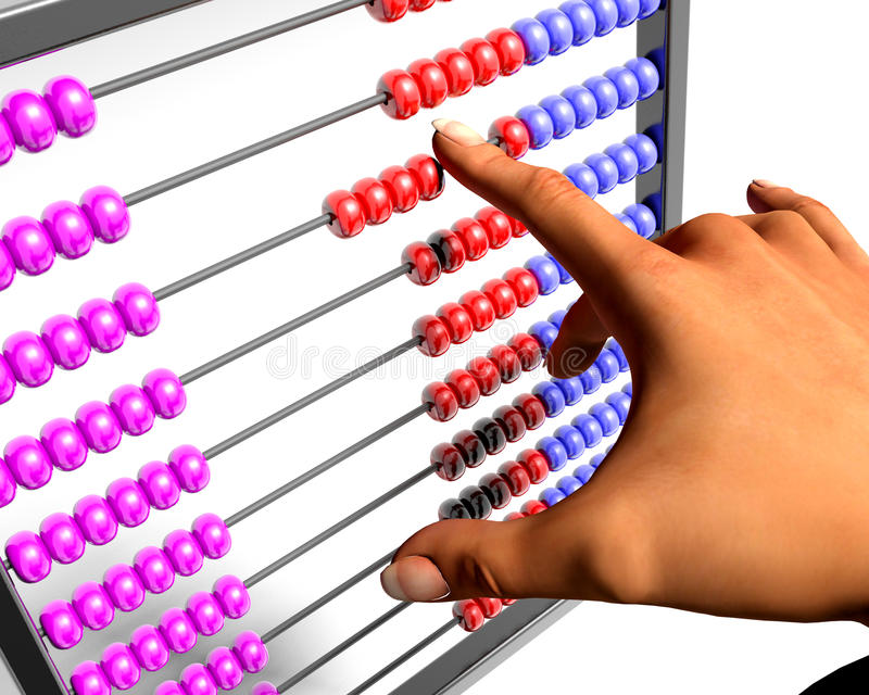 Abacus. Woman manipulating a colorful abacus royalty free illustration