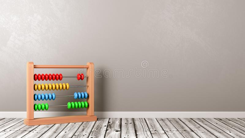 Abacus on Wooden Floor. Colorful Wooden Abacus on Wooden Floor Against Grey Wall with Copyspace 3D Illustration royalty free illustration