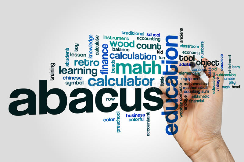 Abacus word cloud. Concept on grey background stock photos