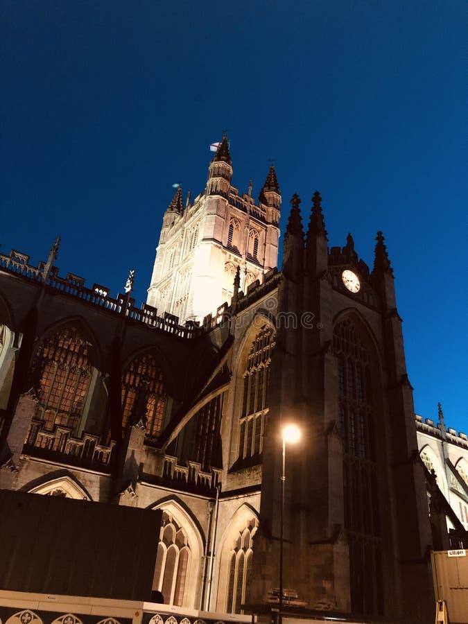 Abadía de Bath de noche foto de archivo