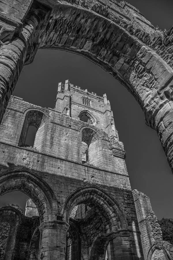 Abadía de las fuentes en Yorkshire, Inglaterra imagen de archivo libre de regalías