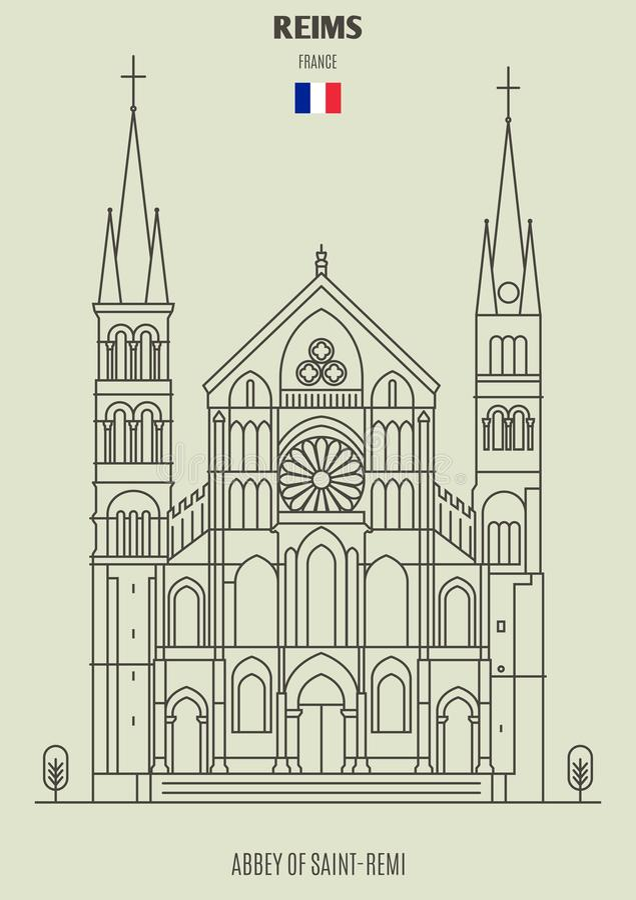 Abadía de Saint Remi en Reims, Francia Icono de la señal libre illustration