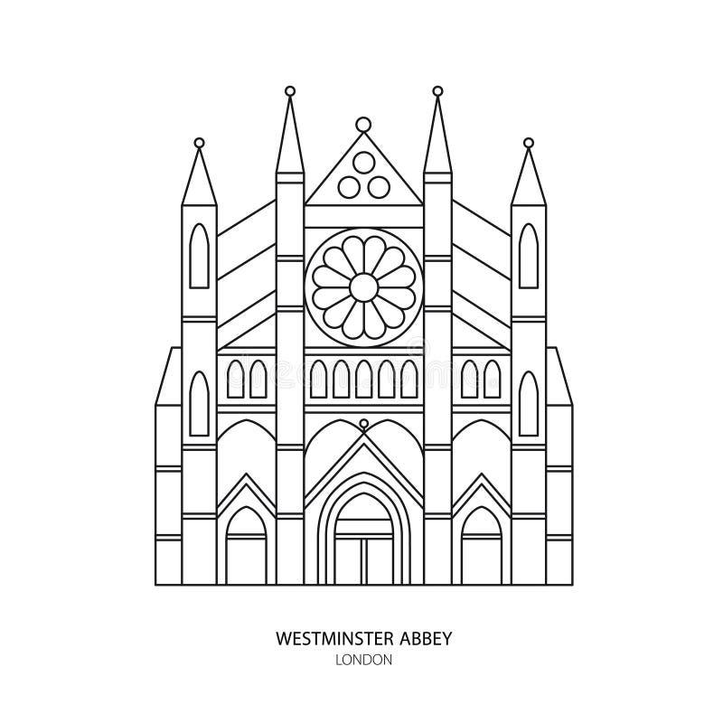 Abadía de Westminster, ejemplo del vector de la señal de Londres ilustración del vector