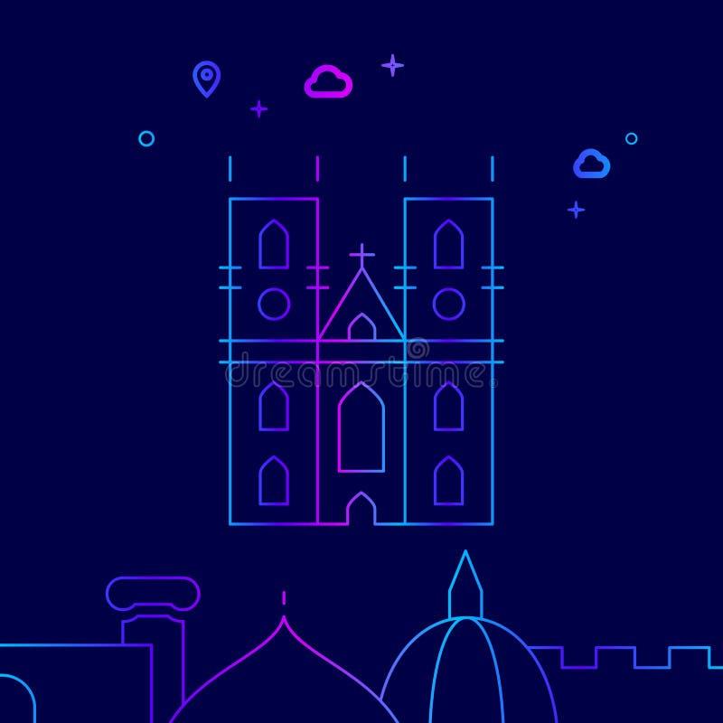 Abadía de Westminster, línea icono, ejemplo del vector de Londres en un fondo azul marino Frontera inferior relacionada ilustración del vector
