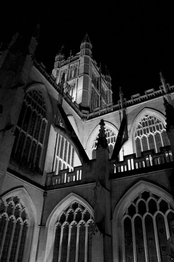 Abadía del baño en la noche imágenes de archivo libres de regalías