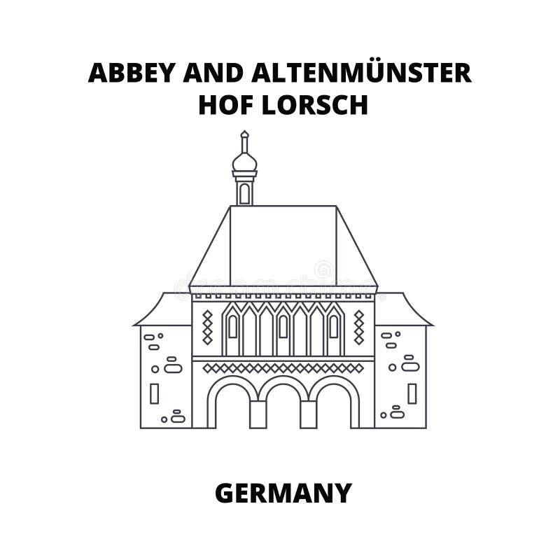 Abadía, Lorsch, línea concepto de Alemania del icono Abadía, Lorsch, muestra linear del vector de Alemania, símbolo, ejemplo stock de ilustración