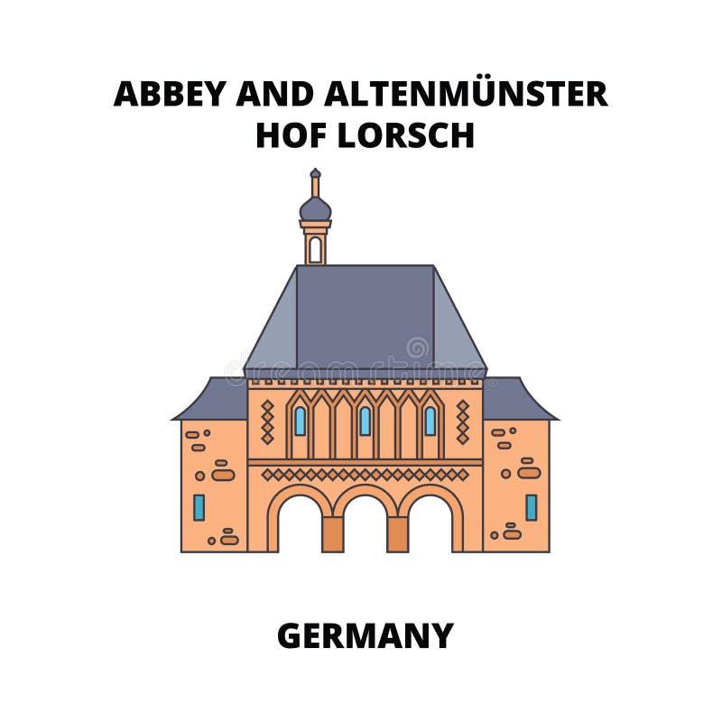 Abadía, Lorsch, línea concepto de Alemania del icono Abadía, Lorsch, muestra plana del vector de Alemania, símbolo, ejemplo stock de ilustración