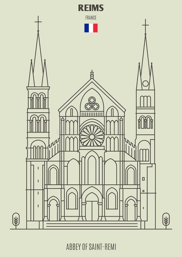 Abadia de Saint Remi em Reims, França Ícone do marco ilustração royalty free