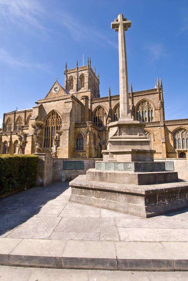 Abadia de Sherborne e memorial da guerra imagens de stock