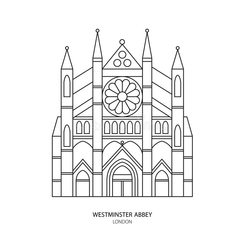 Abadia de Westminster, ilustração do vetor do marco de Londres ilustração do vetor