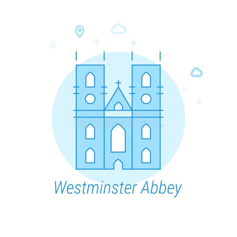 Abadia de Westminster, ilustração lisa do vetor de Londres, ícone Claro - projeto monocromático azul Curso editável ilustração royalty free