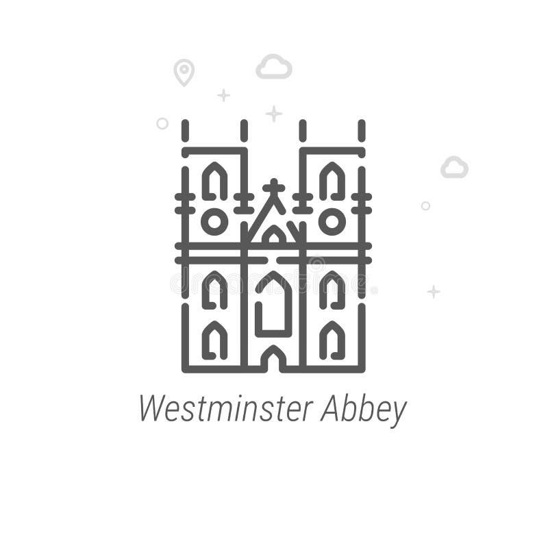Abadia de Westminster, linha ícone do vetor de Londres, símbolo, pictograma, sinal Geométrico abstrato Curso editável ilustração royalty free