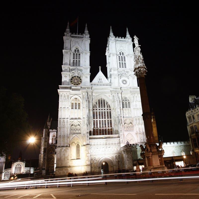 Abadia de Westminster na noite fotografia de stock