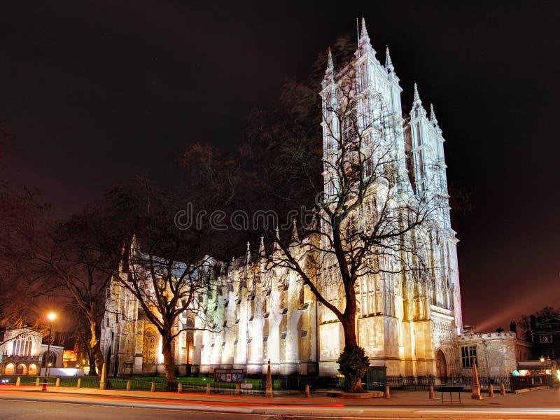 Abadia de Westminster na noite, Londres foto de stock