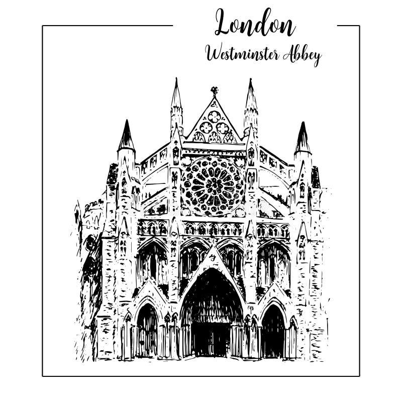 Abadia de Westminster, símbolo arquitetónico de Londres Mão bonita ilustração tirada do esboço do vetor ilustração royalty free