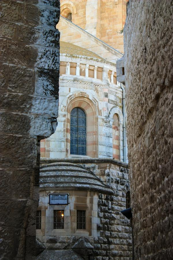 Abadia do Dormition, Jerusalém, Israel, montagem santamente de Zion, 0 foto de stock royalty free