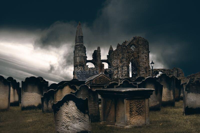 Abadia e cemitério de Whitby foto de stock