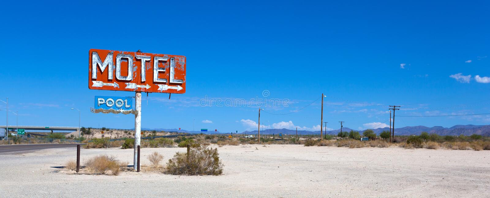 Abadoned, vintage motel sign on route 66. Old, abandoned motel sign in the dessert on Route 66 royalty free stock images