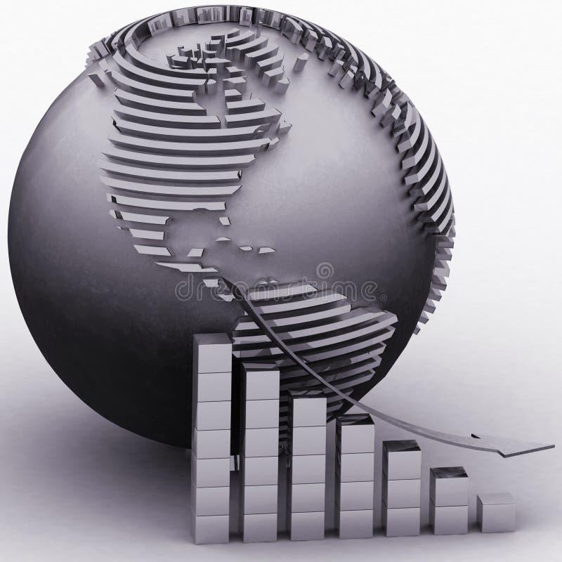 Abaissant le diagramme avec un indicateur sur un fond un globe illustration libre de droits