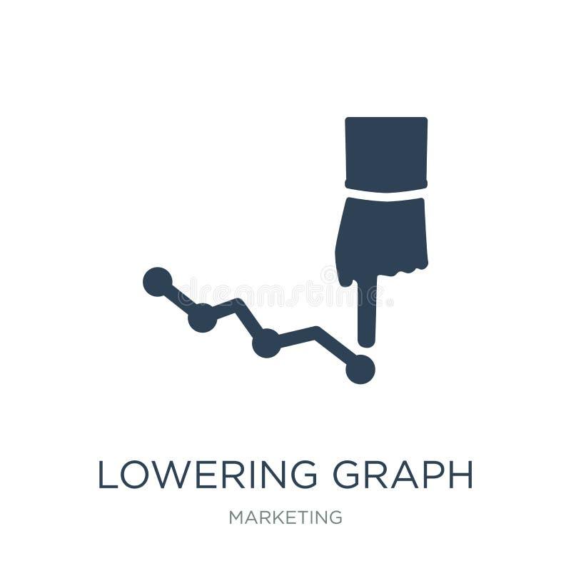 abaissement de l'icône de graphique dans le style à la mode de conception abaissant l'icône de graphique d'isolement sur le fond  illustration libre de droits