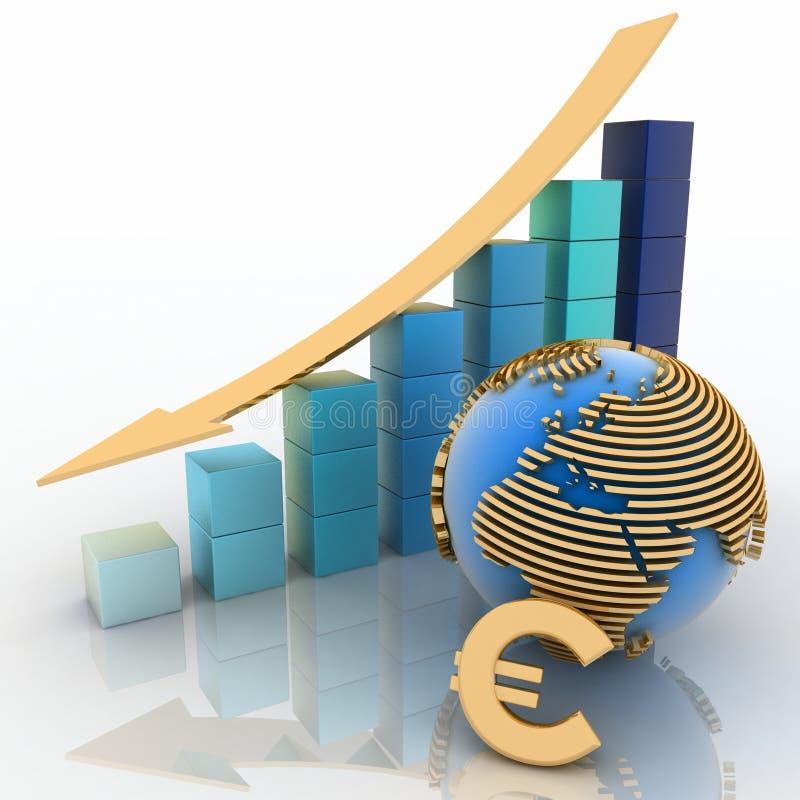 Abaissement du diagramme avec l'euro illustration de vecteur