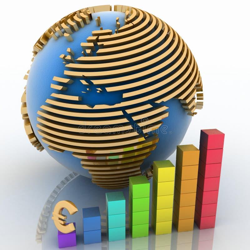 Abaissement du diagramme avec l'euro illustration libre de droits
