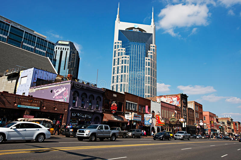 Abaissez Broadway, Nashville images stock