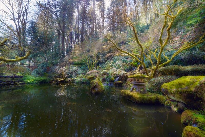 Abaixe a lagoa no jardim do japonês de Portland fotos de stock royalty free
